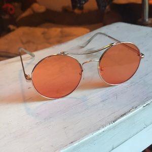 70s inspire orange lens frame Lennon round glasses